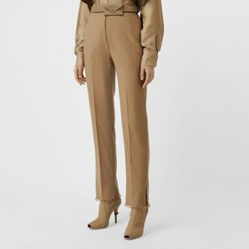 Burberry Burberry Ring Pierced Wool Trousers, Size: 04, Honey