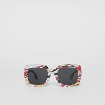 Burberry Burberry Marbled Check Oversized Square Frame Sunglasses, Red