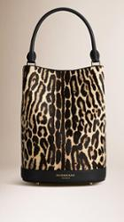 Burberry The Bucket In Animal Print Leather