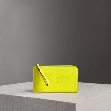 Burberry Burberry Embossed Neon Leather Travel Wallet, Yellow