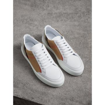 Burberry Burberry Check Detail Leather Trainers, Size: 39, White