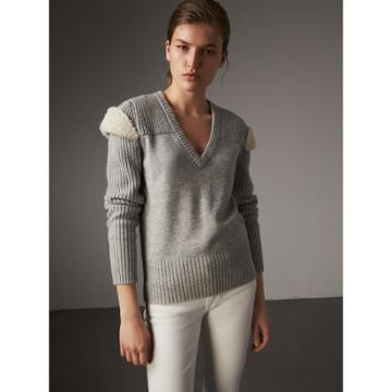 Burberry Burberry Shearling Trim Ribbed Wool Cashmere Sweater, Grey