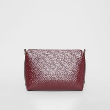 Burberry Burberry Medium Monogram Leather Clutch, Red