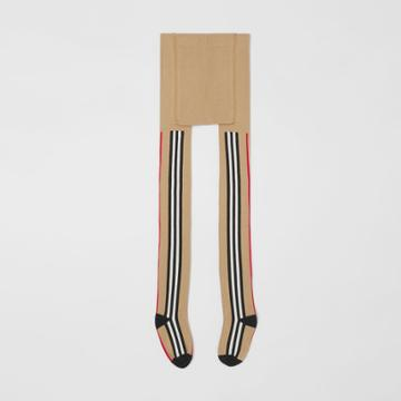 Burberry Burberry Childrens Icon Stripe Intarsia Cotton Blend Tights, Size: 5y-6y, Beige