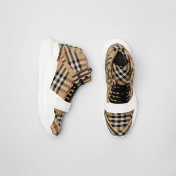 Burberry Burberry Vintage Check High-top Sneakers, Size: 45, White