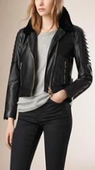 Burberry Lambskin Biker Jacket With Shearling Topcollar