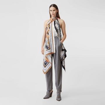 Burberry Burberry Animalia Print Silk Scarf Panel Bodysuit, Grey