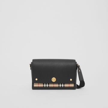 Burberry Burberry Leather And Vintage Check Note Crossbody Bag, Black