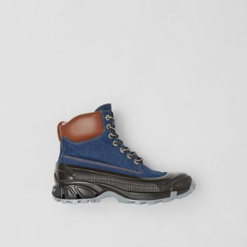Burberry Burberry Contrast Sole Denim And Leather Boots, Size: 42