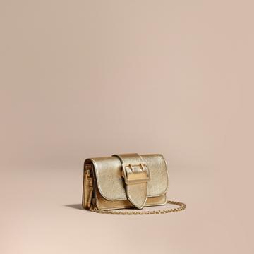 Burberry Burberry The Mini Buckle Bag In Metallic Grainy Leather, Yellow