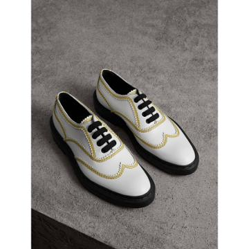 Burberry Burberry Topstitch Leather Lace-up Shoes, Size: 35, White