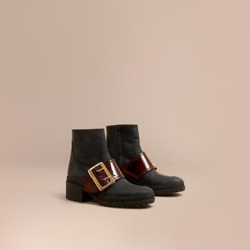 Burberry Burberry The Buckle Boot In Rubberised Leather, Size: 37, Black