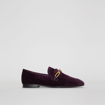 Burberry Burberry Link Detail Velvet Loafers, Size: 35, Purple