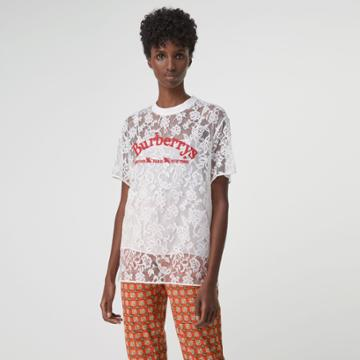 Burberry Burberry Embroidered Archive Logo Lace Top, Size: 02, White