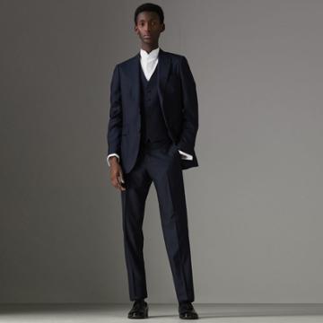 Burberry Burberry Slim Fit Three-piece Wool Silk Evening Suit, Size: 44r, Blue