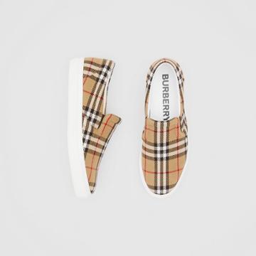 Burberry Burberry Latticed Cotton Slip-on Sneakers, Size: 41, Beige
