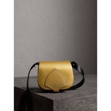 Burberry Burberry The Satchel In Metallic Leather, Yellow