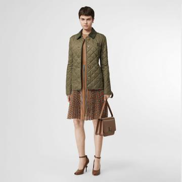 Burberry Burberry Monogram Motif Diamond Quilted Jacket, Green