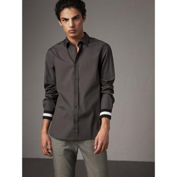 Burberry Burberry Striped Cuff Stretch Cotton Shirt, Size: L, Grey