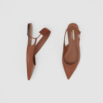 Burberry Burberry Logo Detail Leather Slingback Flats, Size: 38, Brown