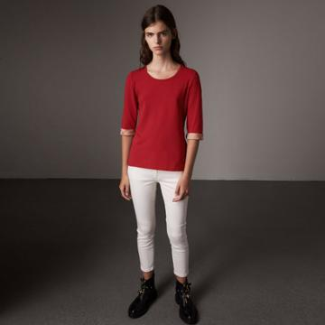 Burberry Burberry Check Cuff Stretch-cotton Top, Size: L, Red