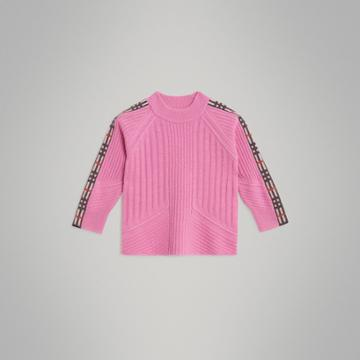 Burberry Burberry Check Detail Wool Cashmere Sweater, Size: 14y, Pink