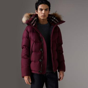 Burberry Burberry Detachable Fur Trim Hooded Down-filled Puffer Jacket, Size: 34