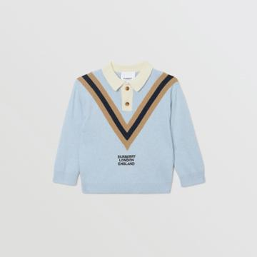 Burberry Burberry Childrens Long-sleeve Knit Cashmere Cotton Polo Shirt, Size: 18m, Blue
