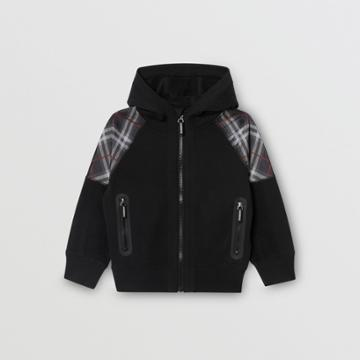 Burberry Burberry Childrens Vintage Check Panel Cotton Hooded Top, Size: 3y, Black