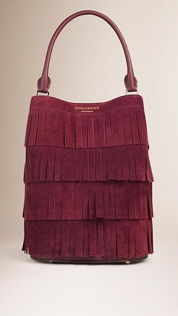 Burberry The Bucket In Tiered Suede Fringe