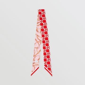 Burberry Burberry B Motif And Archive Scarf Print Silk Skinny Scarf, Red