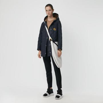 Burberry Burberry Lightweight Diamond Quilted Hooded Parka, Blue