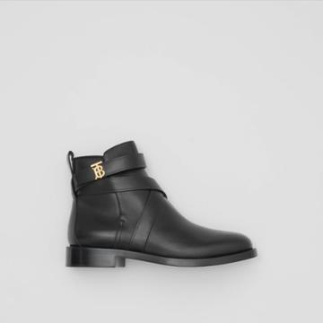 Burberry Burberry Monogram Motif Leather Ankle Boots, Size: 39.5, Black