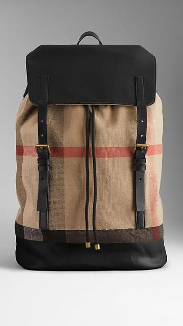 Burberry Canvas Check Leather Trim Backpack