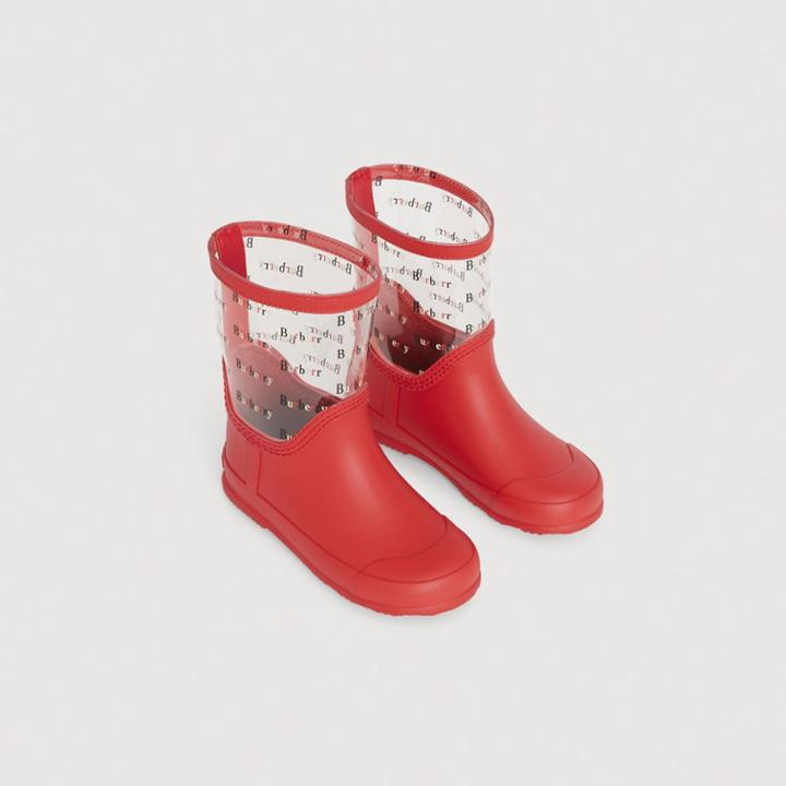 Burberry Burberry Logo Print Rubber Rain Boots, Size: 34, Red