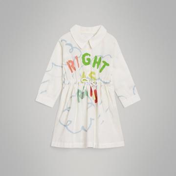 Burberry Burberry Childrens Weather Print Linen Cotton Shirt Dress, Size: 12m, White