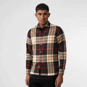 Burberry Burberry Check Cotton Flannel Shirt, Size: Xxl, Black
