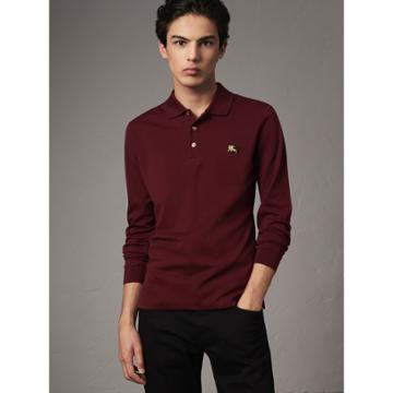 Burberry Burberry Long-sleeve Cotton Piqu Polo Shirt, Size: M, Red