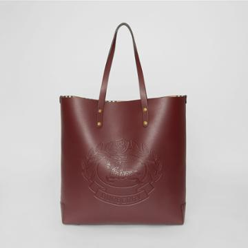 Burberry Burberry Embossed Crest Leather Tote, Red