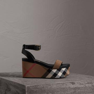 Burberry Burberry House Check And Leather Wedge Sandals, Size: 35, Grey