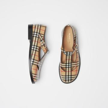 Burberry Burberry Vintage Check Leather T-bar Shoes, Size: 35.5, Beige