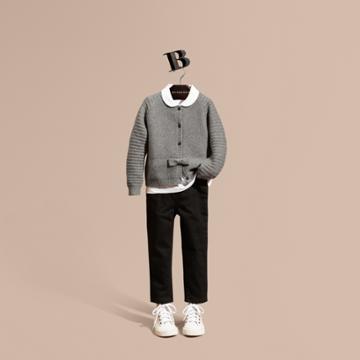 Burberry Burberry Multi-stitch Cashmere Cotton Cardigan, Size: 10y, Grey