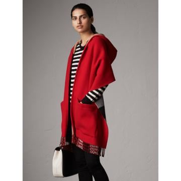 Burberry Burberry Check-lined Wool Cashmere Hooded Stole, Red