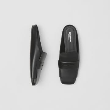 Burberry Burberry Loafer Detail Leather Mules, Size: 38