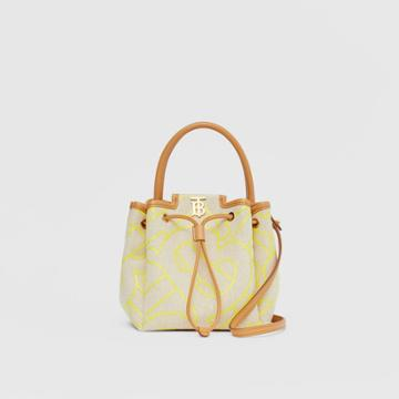 Burberry Burberry Monogram Motif Canvas And Leather Bucket Bag, Brown