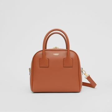 Burberry Burberry Small Stripe Intarsia Leather Cube Bag, Brown