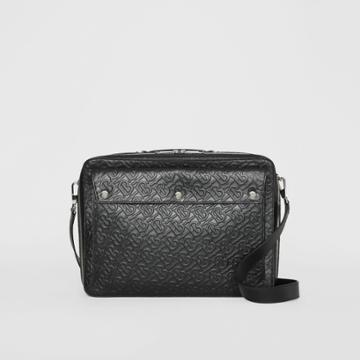 Burberry Burberry Triple Stud Monogram Leather Briefcase, Black