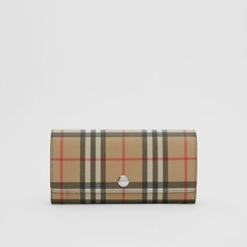 Burberry Burberry Vintage Check E-canvas Continental Wallet, Brown