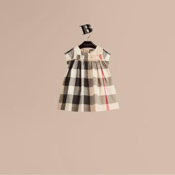 Burberry Burberry Check Cotton Dress, Size: 2y, Beige