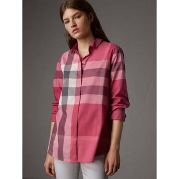 Burberry Burberry Check Cotton Shirt, Size: L, Pink